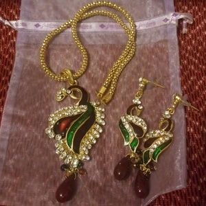 Peacock and earring set